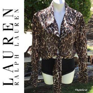 💄NWT~Lauren Ralph Lauren Leopard Print Blouse💄
